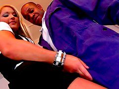 Alluring blonde is sucking gorgeous black dick