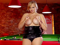 Juicy blonde lady Sara Willis dressed in black goes topless