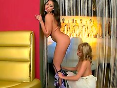 Two super hot babes Blue Angel and Zafira having exciting action in the backroom