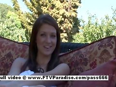 Gabby stunning long hair redhead girl outdoor posing