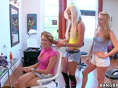 Two golden haired girls Lexi Belle and Nikki Brooks have