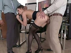 Horny Ashley gives double blowjob at the office in amazing threesome