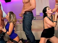 Alluring Aleska Diamond and Aletta Ocean are getting their hot beavers banged during wild group sex