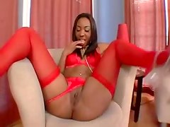 Long legged black girl in high heels and stockings