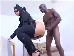 White girl in a catsuit nailed by black cock