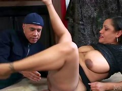 Eating out fat hairy chick that sucks him