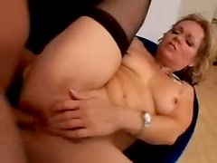 He feverishly eats out and fucks the mature
