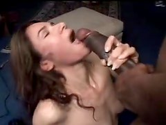 Horny amateur chomping on the big black cock