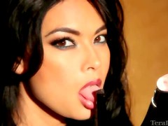 Tera Patrick sexy in a black lace blouse