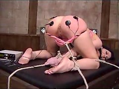 Lesdom bondage and pain with electro shock