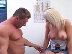 Doctor gets a blowjob from a busty milf