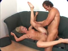 Guys bend and bone this blonde slut in threesome