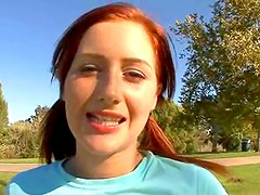Redhead babe Cameron Love gets down in her mouth