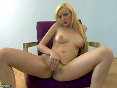 Turned on attractive blonde teen Bianca Golden with perfect natural