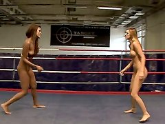 Nude lesbians Keisha Kane and Cindy Hope fight in the boxing ring and get hot and ready for hardcore fun