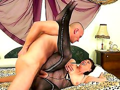 Mature lady with hairy pussy Margo T. can not calm her passion and seduces young neighbor