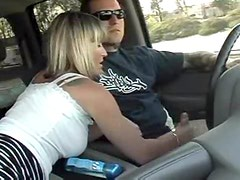 Wife jacks him off in the car
