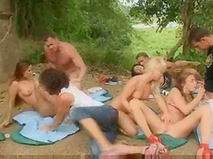 Russian student party outdoors with fucking