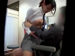Asian schoolgirl in a skirt rides her doctor