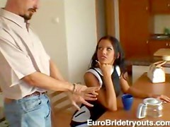 Slim tanned European girl hardcore sex