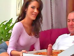 Fit sexy milf laid on couch
