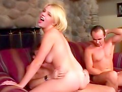 Busty young lady threesome sex