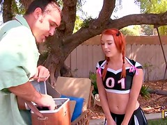 Ginger cheerleader seduces a guy and gets screwed