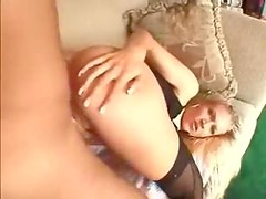 Anal toy play leads to anal with hot blonde