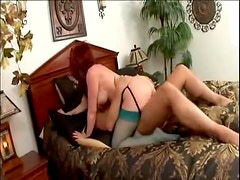 Milf redhead in green stockings fucked in the butt