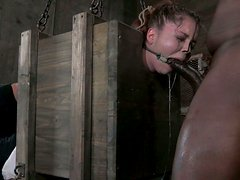 Disgraceful pale skin hoe Jessi Palmer gets screwed BDSM style