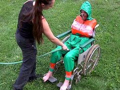 Shameless redhead chick gets humiliated and tied up to the wheelchair