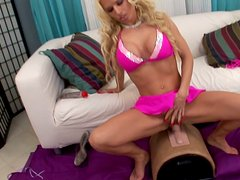 Fuckable Barbie babe rides a dildo in sultry DDF Network sex video
