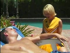 Whorish cheerleader Nadia Foster loves riding a cock outdoors