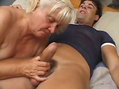 Disgusting blondie sucks a cock with pleasure