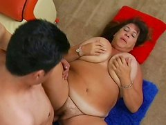 Energetic young macho drills BBW Mercy in reverse cowgirl pose