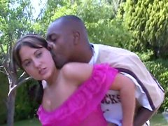 Horny brunette Nicole Parks pleasing black man at the backyard
