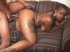 Plump ebony babe with huge ass Ms Cakes serves her pussy for BBC