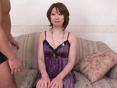 Milf beauty in purple dress groped by two guys