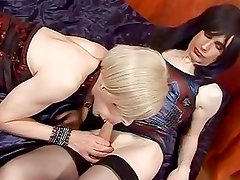 Horny Brunette Uses Strapon With...