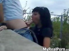 Amateur german girl blows stranger outdoors
