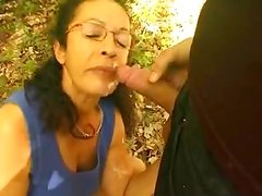 Mature French hottie blows and gets fucked in the forest