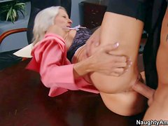 Stunning blonde secretary Emma Starr with scorching hot body and