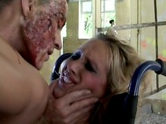 Zombie cock penetrates Maria Bellucci's asshole on the wheelchair