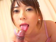 Asian angel Shiori sucks a tasty cock on the camera