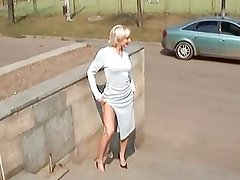 Hot Blonde Russian MILF Posing Outdoors