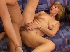 Hairy mature is full of young cock