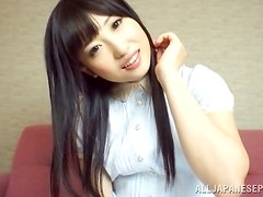 Arisa Nakano is like a doll as she sucks her man's manhood