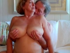 Naughty granny loves in on top and getting her tits squeezed