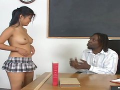 Horny college chick by the name of Asia hits on her teacher