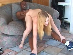 Black guy drills tight shaved pussy of sexy blonde babe Kayla Marie